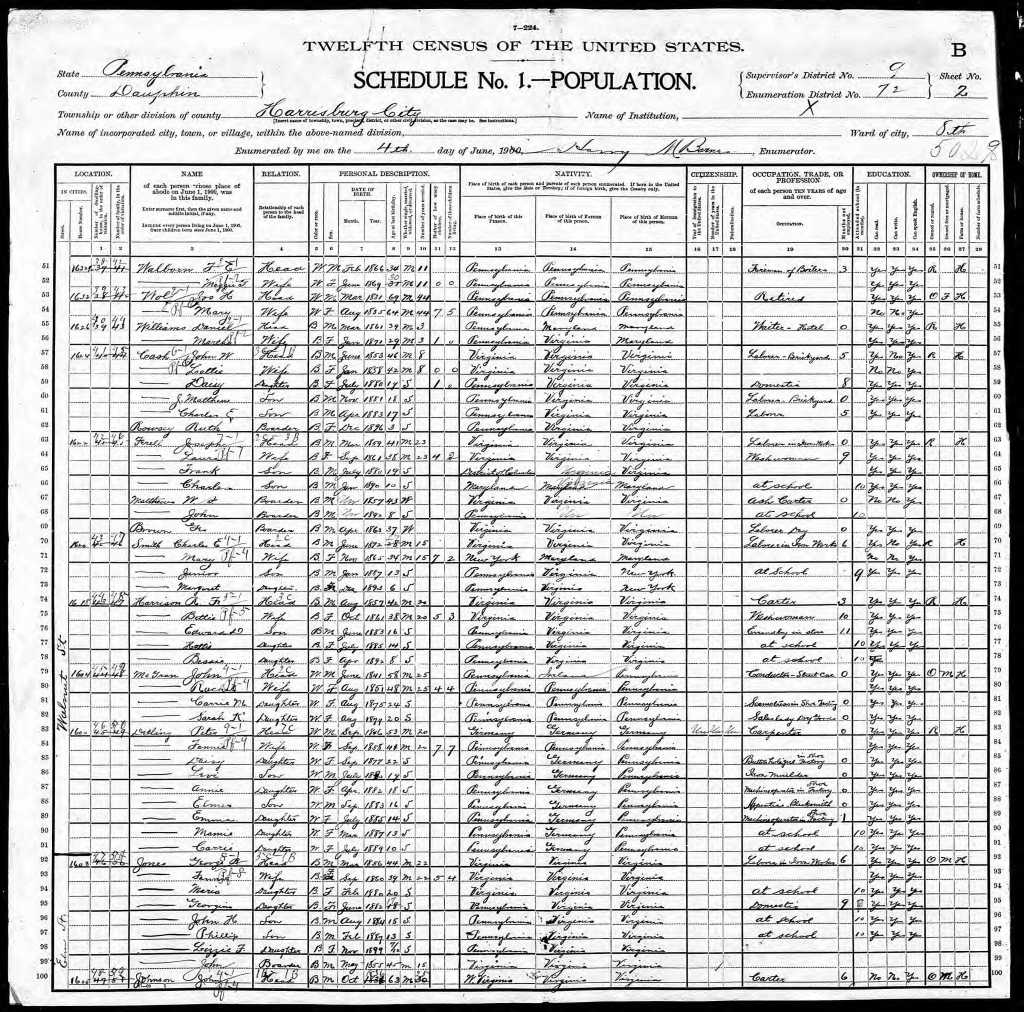 Harrison, Harriet 1900 Census