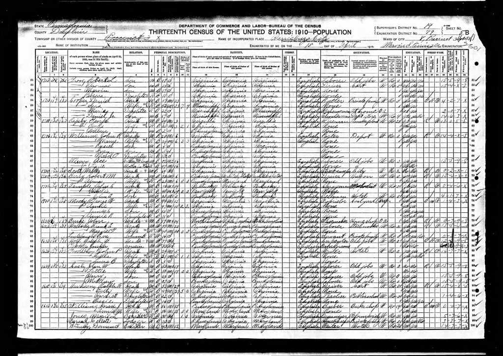 Harrison, Harriet 1910 Census