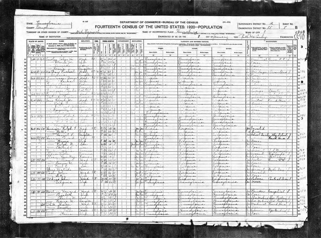 Harrison, Harriet 1920 Census