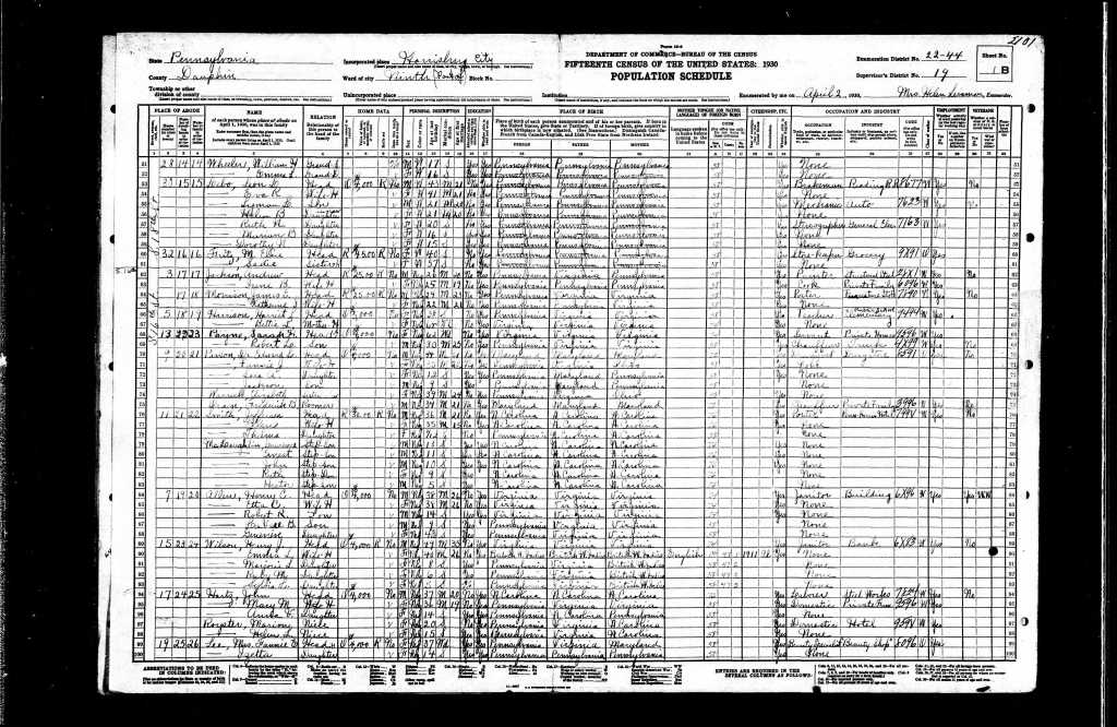 Harrison, Harriet 1930 Census