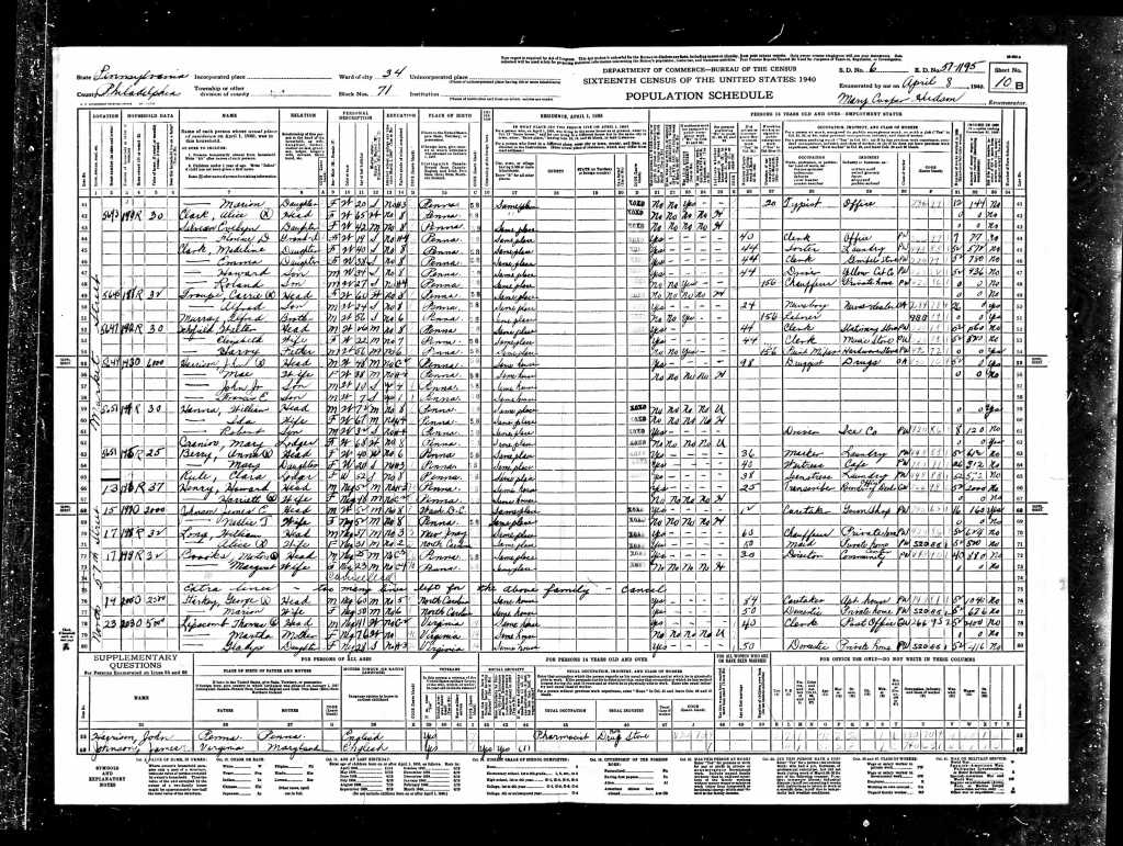 Harrison, Harriet 1940 Census
